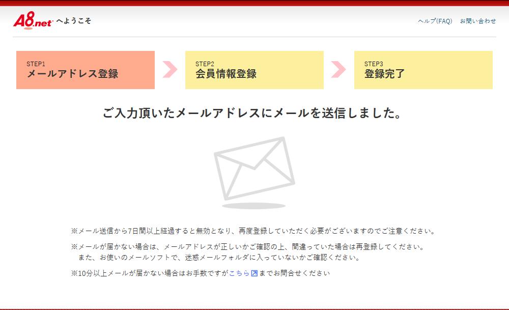 メール送信後のメール